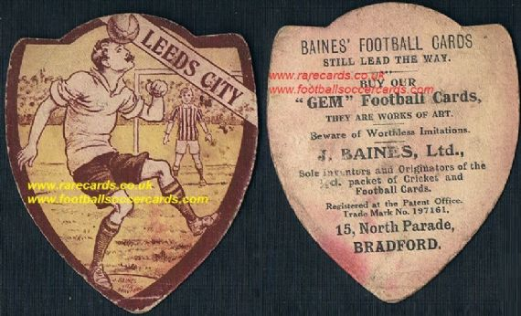 1910 Leeds City FC card by Baines Ltd